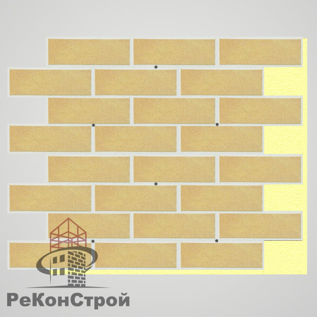 Термопанель с клинкерной плиткой Keravette Shine 834 giallo